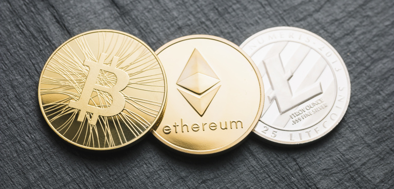 cryptocurrency coins – Bitcoin – Cash, Ethereum,Litecoin
